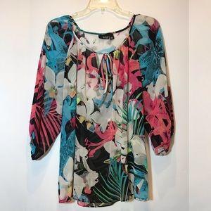 NWT ana floral tropical print sheer blouse